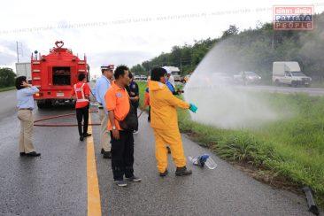 Разлив химикатов на трассе в Паттайе