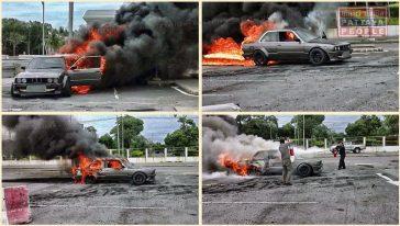 У русского гонщика сгорел BMW в Паттайе