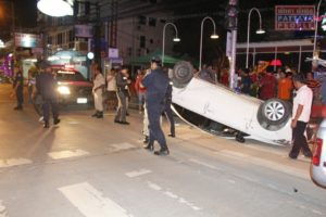 Столкновение машин на Третьей улице в Паттайе